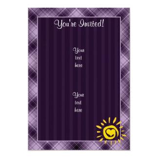 Cute Sun & Heart on Purple Plaid Card