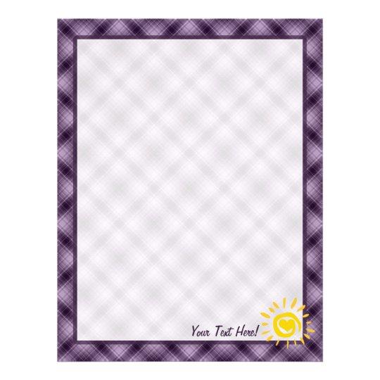 Cute Sun & Heart on Purple Plaid Letterhead
