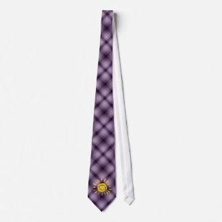 Cute Sun & Heart on Purple Plaid Neck Tie