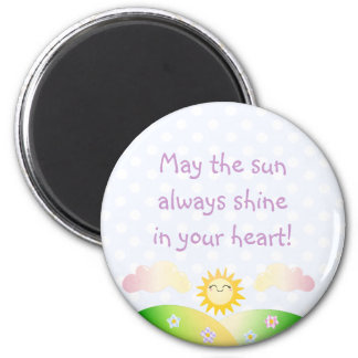 Cute sun kawaii cartoon 2 inch round magnet