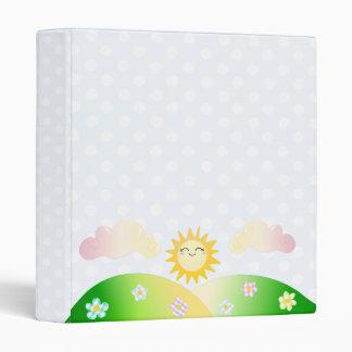 Cute sun kawaii cartoon 3 ring binder