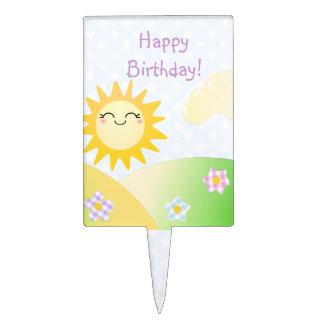 Cute sun kawaii cartoon cake topper
