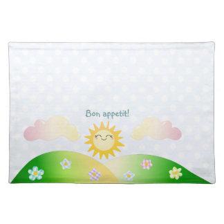 Cute sun kawaii cartoon cloth placemat