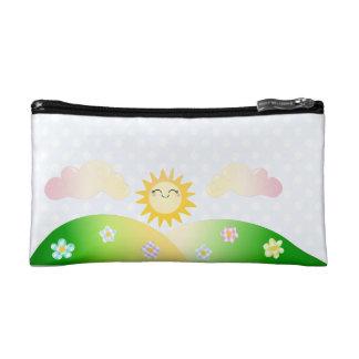 Cute sun kawaii cartoon cosmetic bag