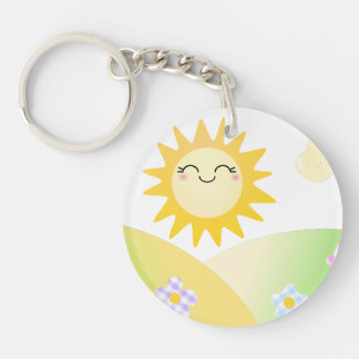 Cute sun kawaii cartoon Double-Sided round acrylic keychain