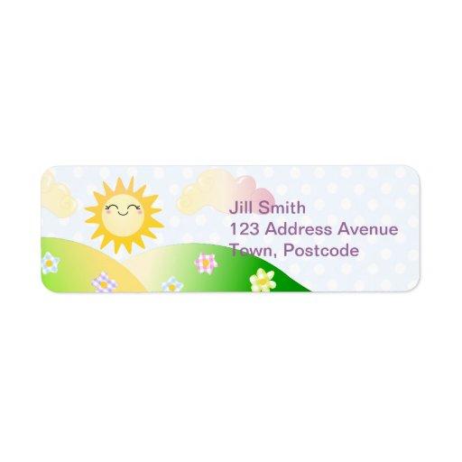 Cute sun kawaii cartoon custom return address label