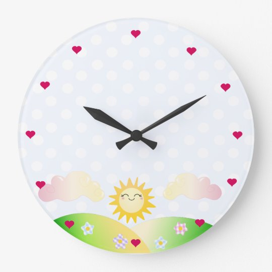 Cute sun kawaii cartoon large clock