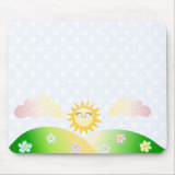 Cute sun kawaii cartoon mousepads