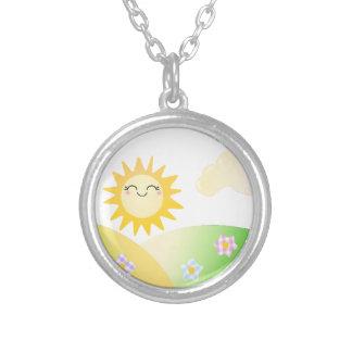 Cute sun kawaii cartoon round pendant necklace