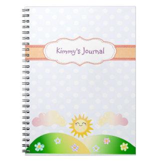 Cute sun kawaii cartoon notebook