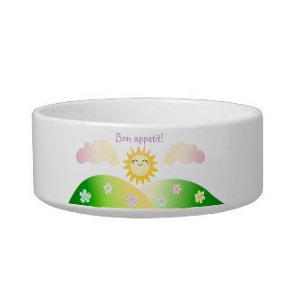 Cute sun kawaii cartoon cat water bowl