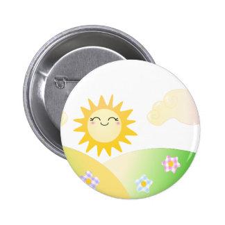 Cute sun kawaii cartoon pinback button