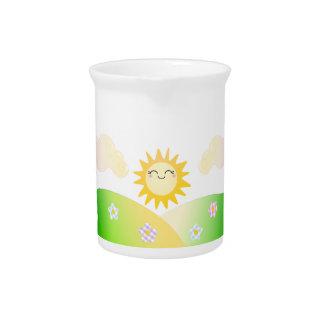 Cute sun kawaii cartoon beverage pitchers
