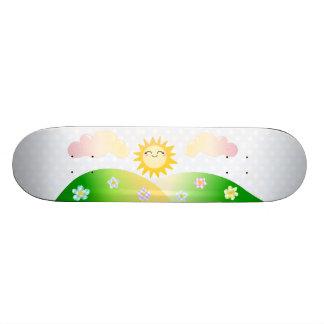 Cute sun kawaii cartoon skateboard