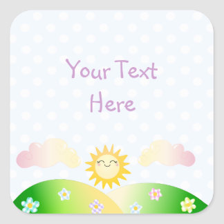 Cute sun kawaii cartoon square sticker