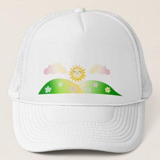 Cute sun kawaii cartoon trucker hat
