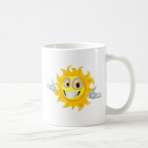 Cute sun mascot cartoon character mugs