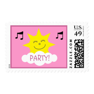 Cute Sun & Music Notes Pink Party Postage