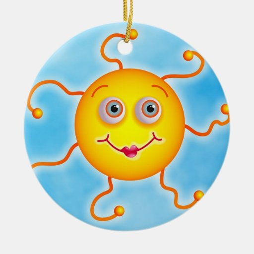 Cute Sun Double-Sided Ceramic Round Christmas Ornament
