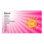 Cute Sun; Pink Business Card Template