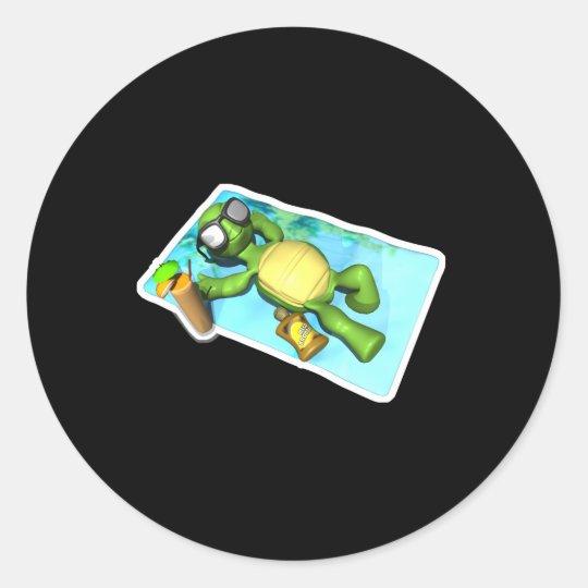 cute sun tanning turtle classic round sticker