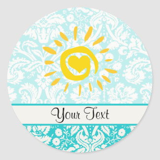 Cute Sun; Teal Damask Classic Round Sticker
