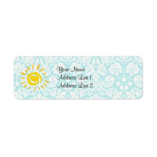 Cute Sun; Teal Damask Label
