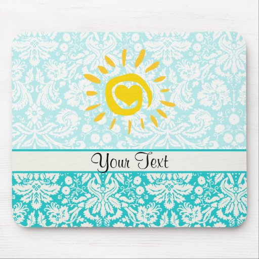 Cute Sun; Teal Damask Mousepads