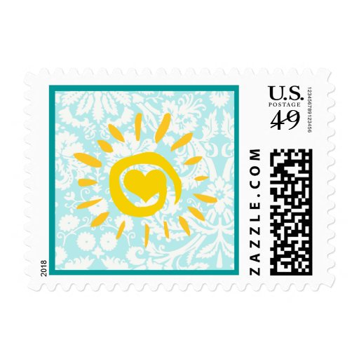 Cute Sun; Teal Damask Postage Stamp