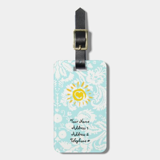 Cute Sun; Teal Damask Tags For Luggage
