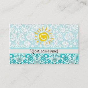 Sunshine business cards zazzle cute sun teal damask business card reheart Choice Image