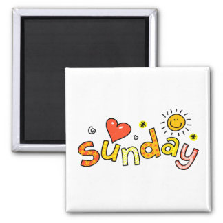 Cute Sunday Week Day Greeting Text Expression 2 Inch Square Magnet