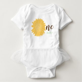 Cute Sunflower Baby name 1st Birthday Baby Bodysuit