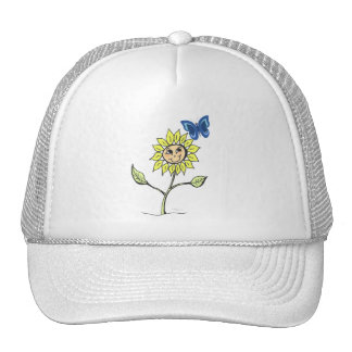 Cute sunflower butterfly smiling Hat