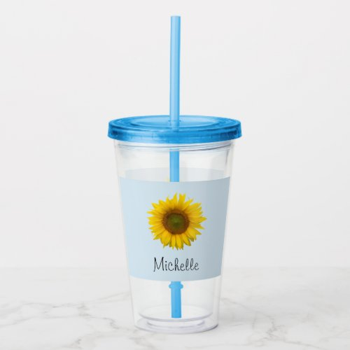 Cute Sunflower Country Floral Blue Acrylic Tumbler