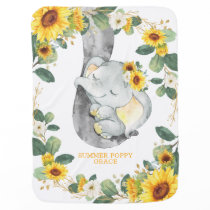 Cute Sunflower Greenery Sleepy Elephant Nursery Baby Blanket