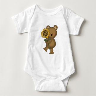 Cute Sunflower Teddy Bear Baby Bodysuit