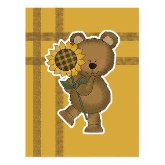 Cute Sunflower Teddy Bear Postcard