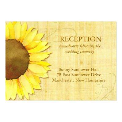 Cute Sunflower Wedding Reception Insert  3.5x2.5  Large Business Card