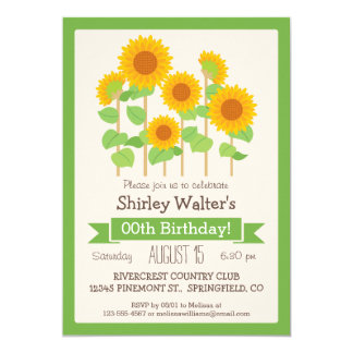 Cute Sunflowers Floral Adult Birthday Party Card