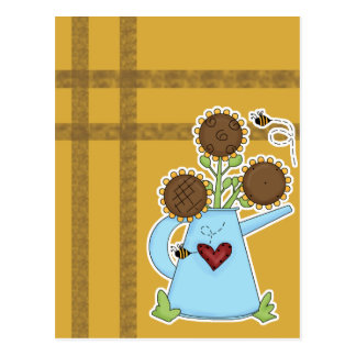Cute Sunflowers in Watering Can Postcard