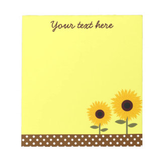 Cute Sunflowers Yellow and Brown Dot Notepad