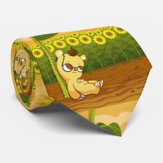 Cute Sunny Cartoon Sunflowers and Bear Neck Tie