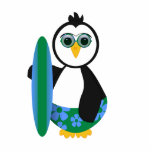 Cute Sunny Surfer Penguin Cut Outs