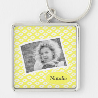 Cute Sunny Yellow Ocelot Pattern Custom Photo Silver-Colored Square Keychain