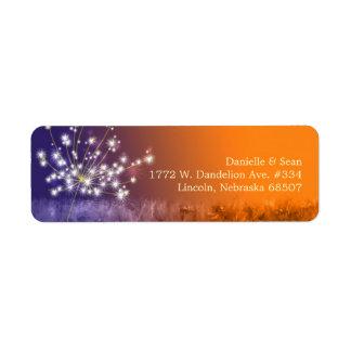 Cute Sunset Dandelion Wedding Label