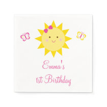 Cute Sunshine Birthday Paper Napkin