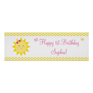 Cute Sunshine Birthday Welcome Poster