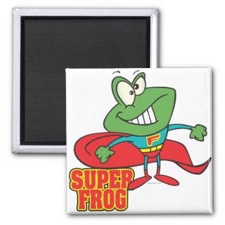 cute super frog superhero cartoon 2 inch square magnet