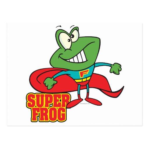 cute super frog superhero cartoon postcard